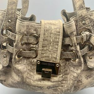 Authentic Jimmy Choo Riki Gray, Gold Hobo Handbag